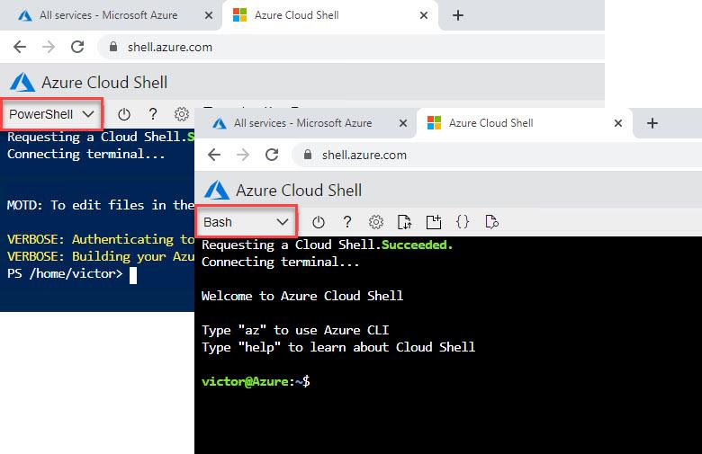 Consolas de Azure Cloud Shell con PowerShell y Bash