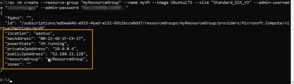 Nueva máquina virtual creada en Azure mediante CLI