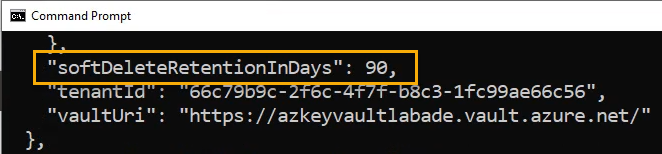 Azure cli Azure Key Vault soft delete retention in days
