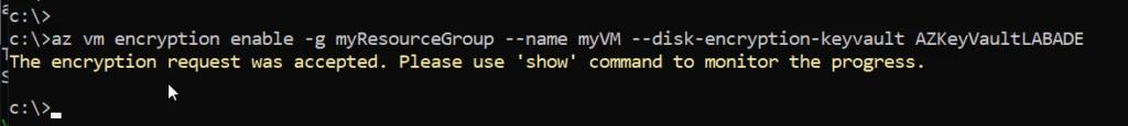 az vm encryption enable azure cli