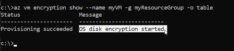 Proceso de cifrado iniciado / az vm encryption show