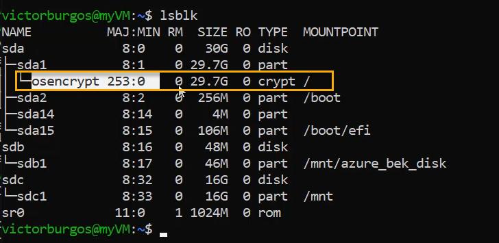 lsblk con azure disk encryption